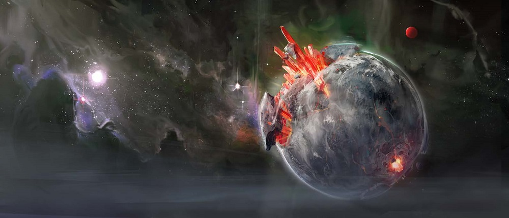 A planet covered in clouds impaled by a giant crystal.